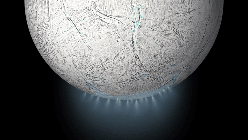 <p>Water emerging from the South Pole of Enceladus, one of the named moons of Saturn. Because we are familiar with life in water, we seek Solar System locales like this when we look for alien life. Credit: NASA</p>