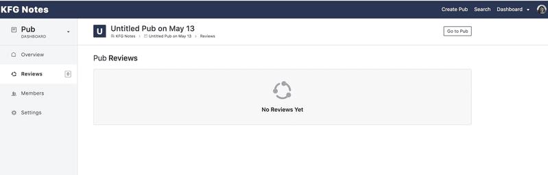 <p>Pub Reviews view</p>