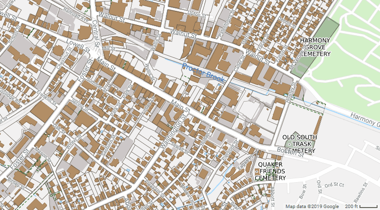 "<p><br></p><p><em>Fig. 2: City of Peabody Assessors' Map showing spatial relationships between the commercial district on Main Street and leather industry on Walnut Street. The North River is mislabeled ""Proctor Brook.""</em></p>"