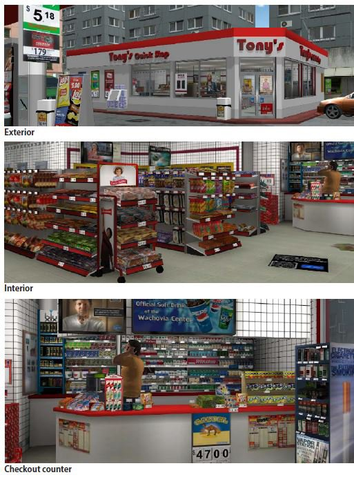 <p>Figure 1. Store exterior, interior, and checkout counter</p>