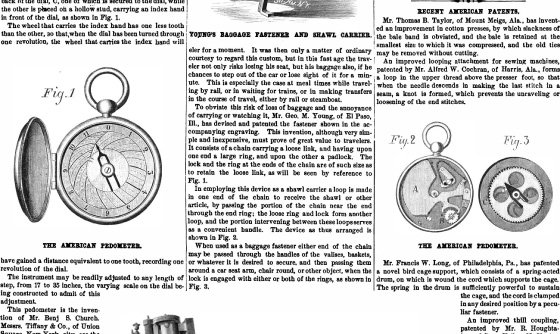 "<p>Figures 5.3 Images from the first announcement of ""The American Pedometer,"" <em>Scientific American</em>, April 19, 1879. Courtesy of the Internet Archive.</p>"