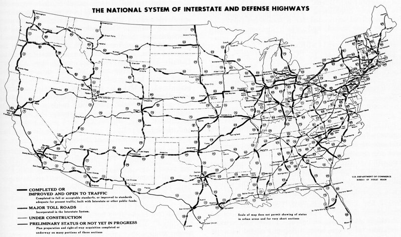 Eisenhower advocated the National System of Interstate and Defense Highways partially as a means of transporting military supplies and troops. Source: Federal employee, public domain https://commons.wikimedia.org/wiki/File:Interstate_Highway_status_unknown_date.jpg.