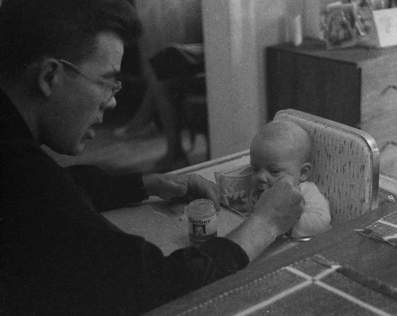 My dad feeds me as a baby. Photo courtesy of Dresselhaus Family