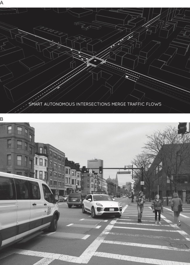"<p>Figure 2.2: (a) A screenshot from the MIT Senseable City Lab's demonstration video of a city without traffic lights, depicting autonomous vehicles zooming through an intersection in downtown Boston without needing to slow down. (b) A photograph, taken on a typical Saturday afternoon, of the same intersection, where cars shared the street with pedestrians, cyclists, and buses.</p><p class=""figatr""><br></p><p class=""figatr""><em>Sources:</em> (a) Senseable City Lab, ""DriveWAVE by MIT SENSEable City Lab"" (2015). <a href=""http://senseable.mit.edu/wave/"">http://senseable.mit.edu/wave/</a>. (b) Photograph by Ben Green. Boston, Massachusetts. April 2018.</p>"