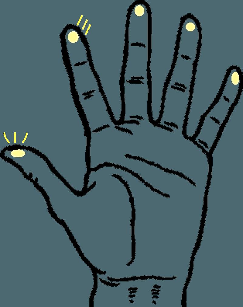 <p><em>A hand with embedded digits.</em></p>