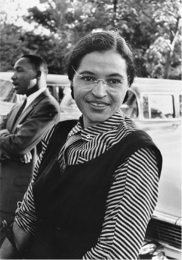"""<p>Figure 7.1 """"The first lady of civil rights,"""" Rosa Parks's refusal to yield her seat on a Montgomery bus highlighted both racial segregation and the critical place of transportation as an essential element of public life. Wikipedia.</p>"""
