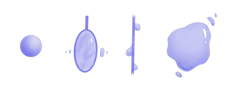 <p><em>Potential methods of fluid dispersal and manipulation: sponge, ring, rod, and free floating liquid.</em></p>