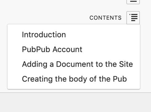 <p>Tabla de contenido</p>