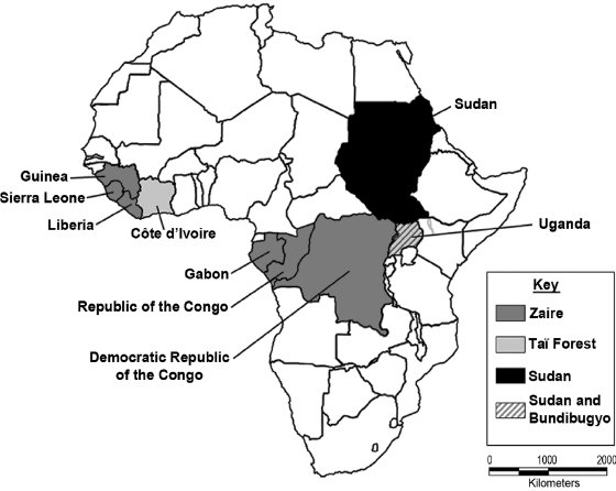 <p>Figure 5.2 African countries where endemic transmission of Ebola virus has been noted.</p>