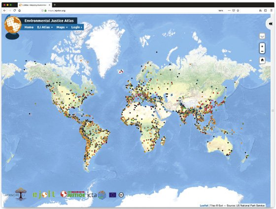 <p>Figure 5.8: The Global Atlas of Environmental Justice (EJ Atlas; https://ejatlas.org/) works in partnership with activists, civil society organizations, and social movements to systematically document ecological conflicts around the globe. The scope and scale of the EJ Atlas enables activists to connect with others and facilitates researchers studying conflicts in a quantitative and comparative context, without sacrificing a commitment to a pluralistic process and the dignity of local and community knowledges. Courtesy of the Global Atlas of Environmental Justice, 2019.</p>