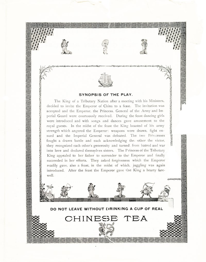 """<p class="""""""">Figures 4 and 5. Pages three and four of the Chinese Village pamphlet showing the synopsis of the play, a drawing of the Chinese Village and the Chinese Café menu.</p>"""