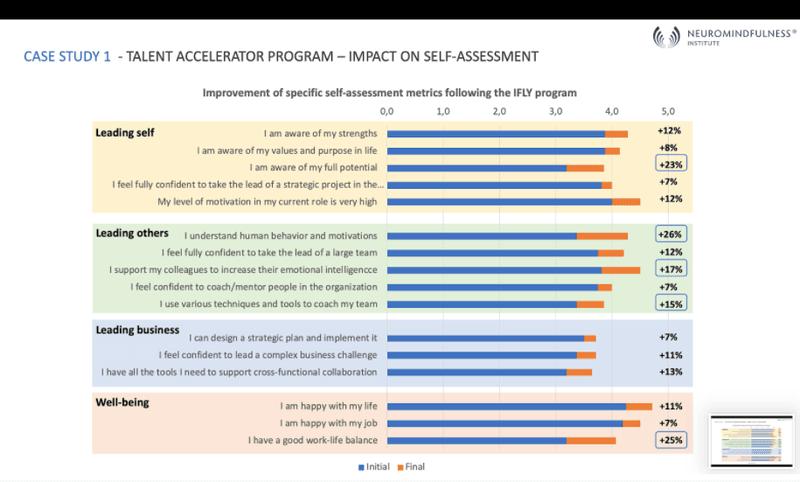 <p><em>Résultats de l'auto évaluation d'un groupe de 16 hauts potentiels ayant suivi le programme accélérateur de talent.</em></p>