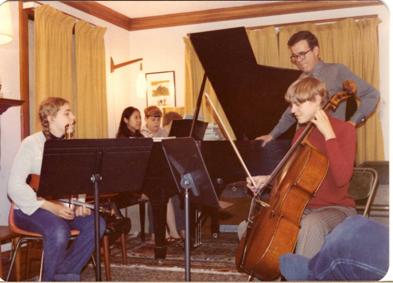 The Dresselhaus family puts on a concert on Thanksgiving Day.  Photo credit: Millie Dresselhaus.