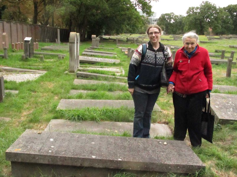 Millie and I beside the grave of Millie's grandmother (whom Millie is named for).  Photo courtesy of Shoshi Dresselhaus-Cooper