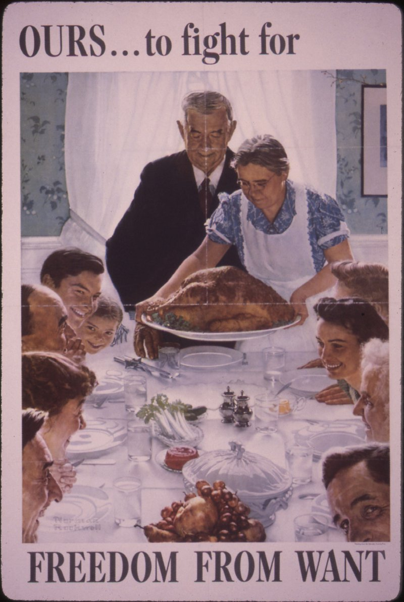 "<p>Norman Rockwell's Freedom from Want was made in 1942 for The Saturday Evening Post, and is likely the best image to symbolize American food abundance, especially in the context of WWII. Source: This file was provided to Wikimedia Commons by the <a href=""https://en.wikipedia.org/wiki/National_Archives_and_Records_Administration"">National Archives and Records Administration</a> as part of a <a href=""https://commons.wikimedia.org/wiki/Commons:National_Archives_and_Records_Administration"">cooperation project</a>.</p>"