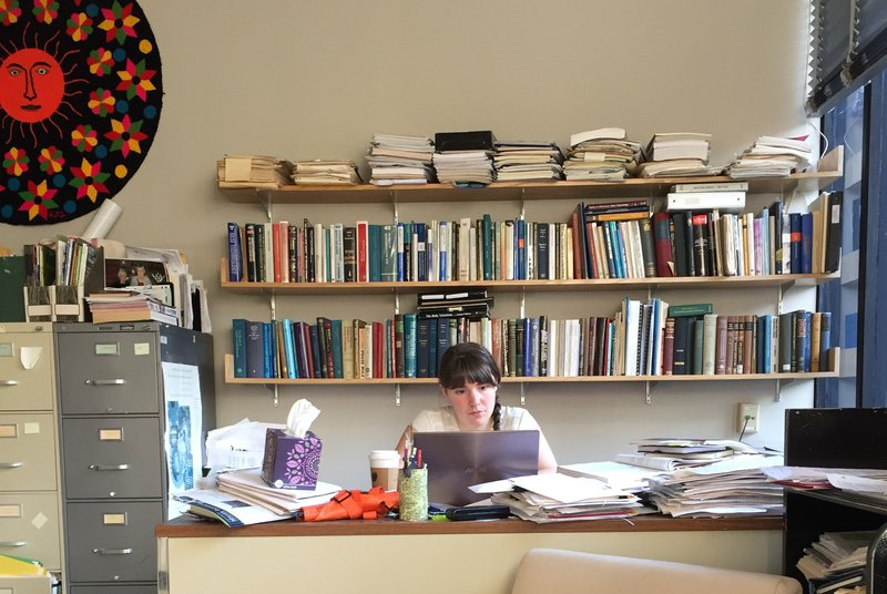 Leora Dresselhaus-Cooper forges her own pathway, in her grandmother's office.  Photo credit: Shoshi Cooper