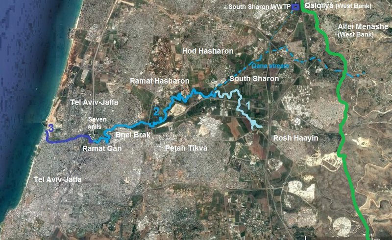 """<p class=""""""""><br></p><p class="""""""">Figure 1: Three sections of the Yarqon river (1: fresh water section; 2: middle (polluted) section; 3: salt water section) and adjacent municipalities. The """"Green Line"""" shows Israel's pre-1967 borders. Background map source: Google maps.</p>"""
