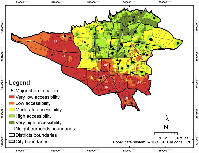 <p>By overlaying the weights of these factors in each neighborhood with the geographic measures calculated in the first step of the research, the authors created a final accessibility map of Tehran (Figure 2).</p>