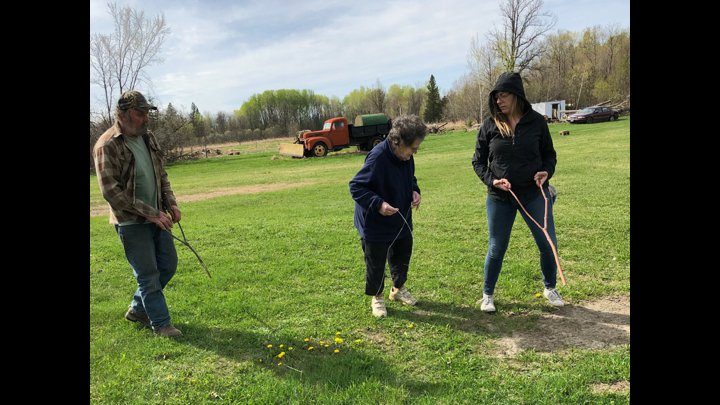 """<p class="""""""">Dowsing for water with my grandmother, Violet, near the headwaters of the upper Mississippi River in 2018.</p>"""