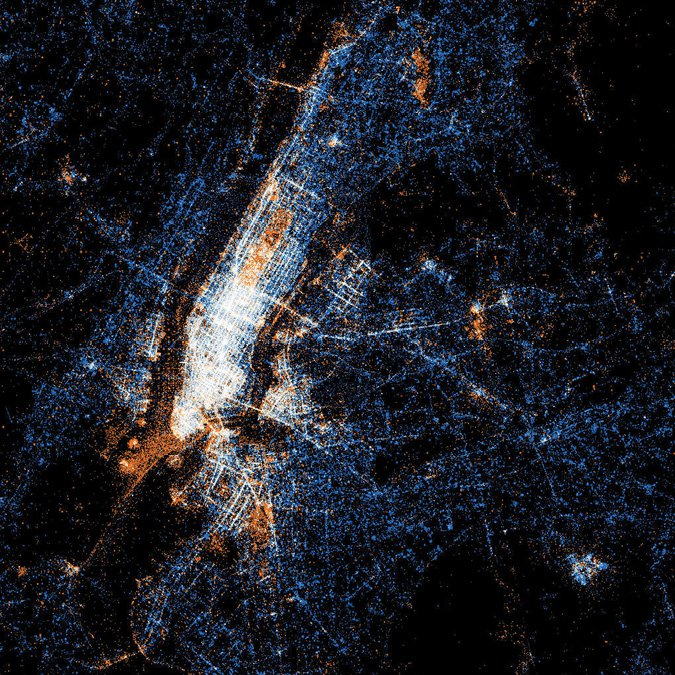 <p>Figure 2.7</p><p>Eric Fischer, <em>See Something or Say Something</em> (2011). On this map of New York City, red dots mark places where people have uploaded a photo to Flickr, blue dots are the site of tweets, and white are places posted to both. We can see that Central Park, the Statue of Liberty, and the picturesque ferry route from southern Manhattan attract photographers, while many text tweets are sent from Kennedy Airport (lower right). Text also predominates in poorer neighborhoods. This seemingly simple mapping of two forms of quick broadcast communication reveals both aesthetic and economic geographies.</p>