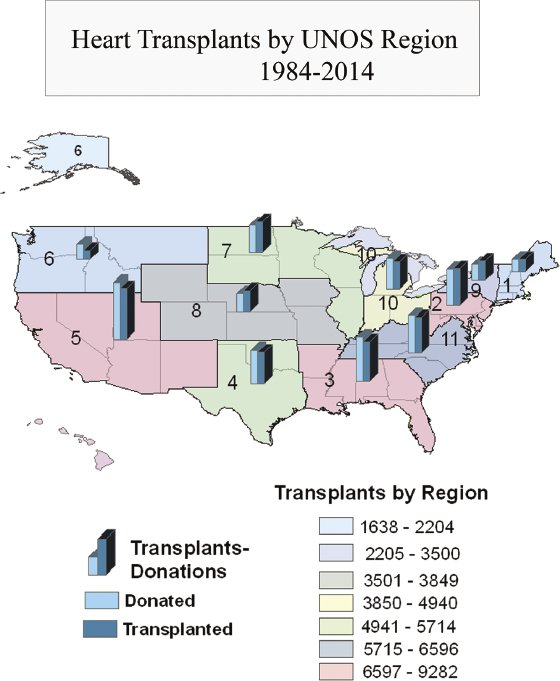 """<p><a href=""""#c11247_008.xhtml#fig_003a"""">Figure 8.3</a> Regional heart transplant performance mapped using UNOS data from 1988 to 2014. By author.</p>"""