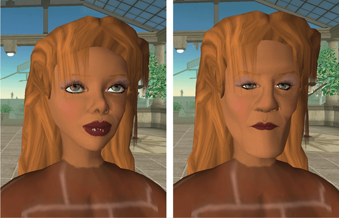 "<p>Figure 10.5</p><p>Avatar faces from Second Life. We read meaning from faces (Bruce and Young 1998; Donath 2001; Zebrowitz 1997), including from the faces of avatars. Imagine each of these saying: ""I have some land to sell to you"" or ""Do you want to go to a party?"" Even though both faces could belong to anyone, and the difference between them was made in a couple of minutes by changing a few parameters in Second Life's face-editing program, we interpret the words through the context of the personalities we read into these two different, fictional faces. Whereas it is equally easy to make fictional self-descriptions in text, the vividness of visual imagery makes it harder to stand back and remember that it may be a completely imaginary representation.</p>"