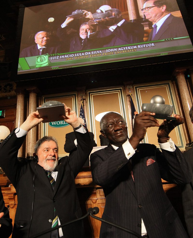 <p>From left to right, Luis Inácio Lula da Silva and John Agyekum Kufuor, respectively from Brazil and Ghana, jointly receive the 2011 World Food Prize, for their commitment in creating and implemeting government policies to fight hunger in their countries. Photo Credit: Ricardo Stuckert, used with permission.</p>
