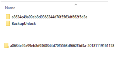 <p>Contents of BackupUnlock directory showing date of unlock</p>