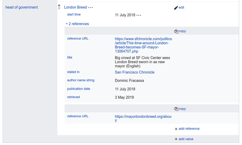 <p>The statement in Wikidata about London Breed being mayor of San Francisco.</p>