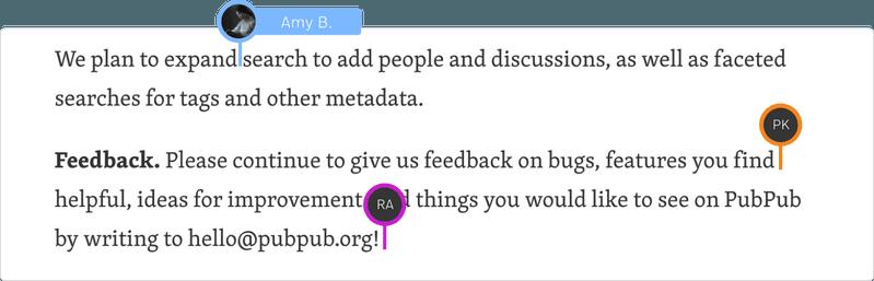 "<p>Fig. 9: Collaborative editing of a Pub (source: <a href=""https://www.pubpub.org/"">PubPub</a>)</p>"