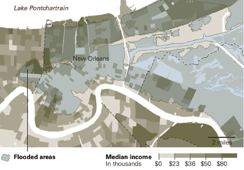 "<p><a href=""#c11247_002b.xhtml#fig_003a"">Figure 2.3</a> In the weeks after Katrina, Matthew Ericson of the <em>New York Times</em> attempted to map the relationship of income levels and residence in the city's most decimated wards. Ericson, ""When Maps Shouldn't Be Maps.""</p>"