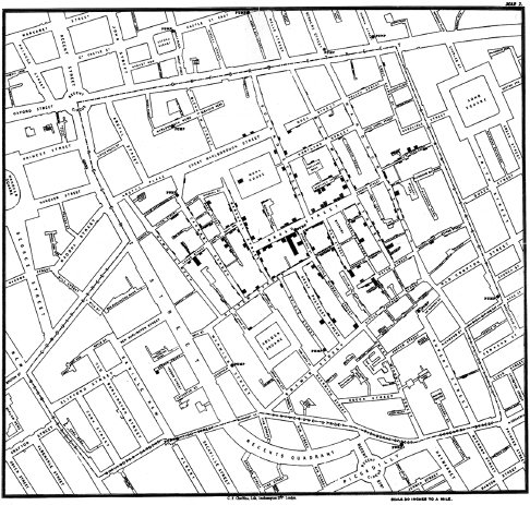 "<p><a href=""#c11247_001.xhtml#fig_003a"">Figure 1.3</a> Detail of John Snow's map of neighborhood cholera in the 1854 outbreak. If cholera is waterborne, the map argued, then a water source must be at its center.</p>"