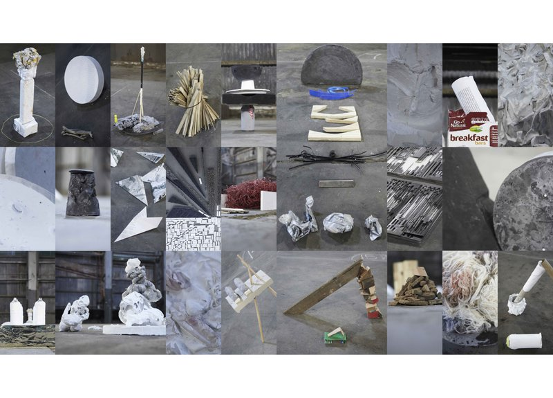 Figure 10. All assembled artifacts. Assemblage I, Underbelly Arts Lab, Cockatoo Island, July 2013. Documentary photographs. © Assemblage, 2013. Courtesy of Simone Mandl.