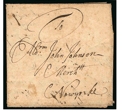 "<p>Figure 5.1</p><p>Letter to Alderman John Johnson (1718). A letter addressed with only the recipient's name and ""New York"" to guide its delivery. Courtesy Siegel Auction Galleries, Inc.</p>"