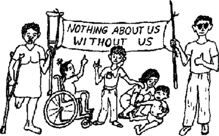 "<p><strong>Figure 2.1</strong> Cover illustration for ""Nothing About Us Without Us: Developing Innovative Technologies For, By and With Disabled Persons"" by David Werner, 1998, <a href="""">http://www.dinf.ne.jp/doc/english/global/david/dwe001/dwe00101.html</a></p>"