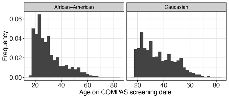 <p><strong>Figure A2.</strong> Normalized histograms of age for African Americans and Caucasians within the Broward County data set.</p>