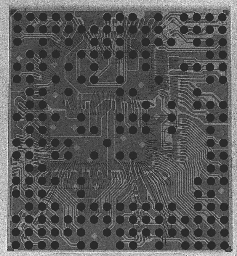 Figure 9. An X-ray of the MT6260, a single-chip 2G AP+Baseband solution by MediaTek. Image courtesy Nadya Peek, with permission.