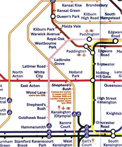 """<p></p><p>Figure 7.6 This detail from the Transport for London map shows the presence of """"special access"""" stations, symbolized by a stick figure in a wheelchair, promising system accessibility at a minority of stations.</p>"""