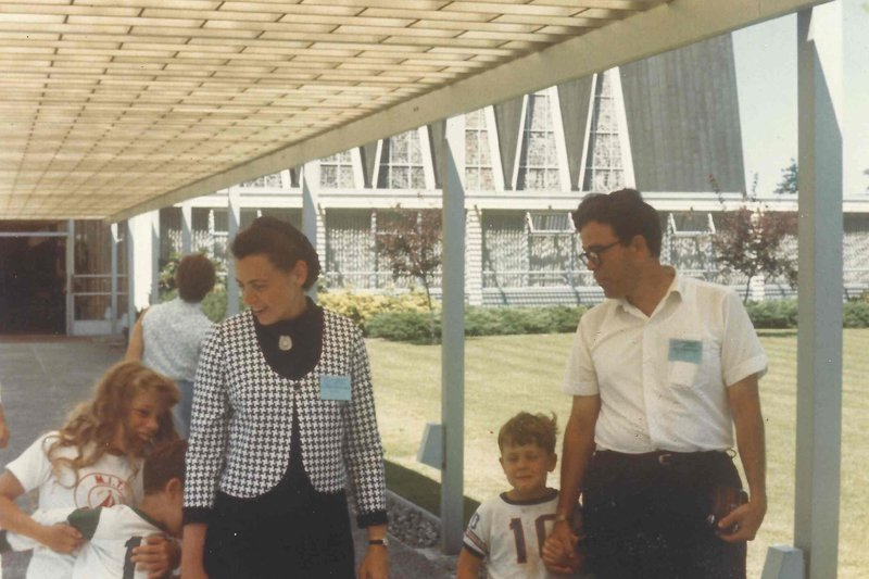 Millie and Gene with the kids at a conference. Photo courtesy of the Dresselhaus Family