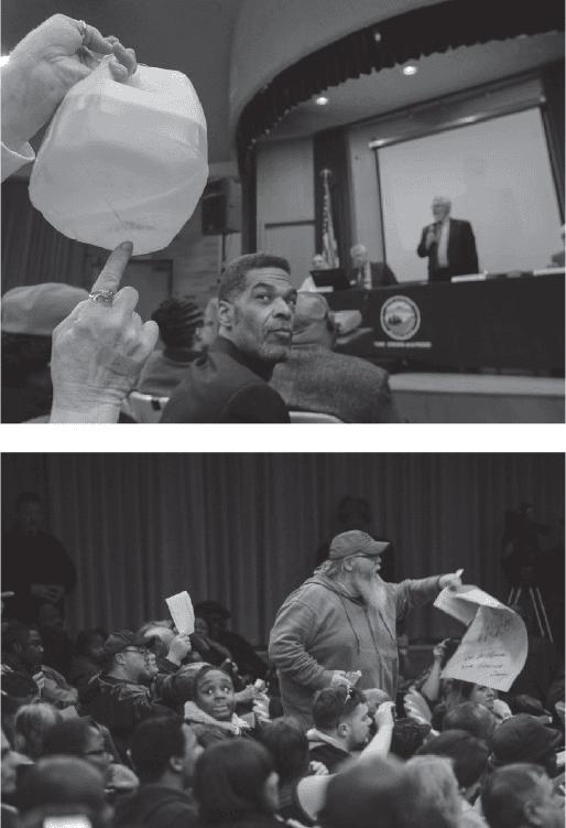 "<p>Figure 6.1<br>Town hall meeting at the ""Dome"" on January 21, 2015. Top: © Detroit Free Press /ZUMA Press. Bottom: <em>MLive, Flint Journal.</em></p>"