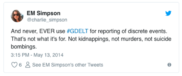<p>Two Tweets by Erin Simpson that alerted FiveThirtyEIght to their erroneous interpretation of the GDELT dataset.</p><p>Credit: Erin Simpson</p><p>Source: https://twitter.com/charlie_simpson/status/466308105416884225 and https://twitter.com/charlie_simpson/status/466310866225217536</p>