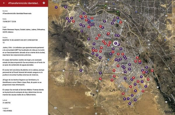 """<p>Figure 1.5: María Salguero's map of femicides in Mexico (2016–present) can be found at https://feminicidiosmx.crowdmap.com/. (a) Map extent showing the whole country. (b) A detailed view of Ciudad Juárez with a focus on a single report of an anonymous transfemicide. Salguero crowdsources points on the map based on reports in the press and reports from citizens to her. Courtesy of María Salguero. (a) <em>Source:</em> <a href=""""https://feminicidiosmx.crowdmap.com/"""" title="""""""">https://feminicidiosmx.crowdmap.com/</a>. (b) <em>Source:</em> <a href=""""https://www.google.com/maps/d/u/0/viewer?mid=174IjBzP-fl_6wpRHg5pkGSj2egE&amp;ll=21.347609098250942%2C-102.05467709375&amp;z=5"""" title="""""""">https://www.google.com/maps/d/u/0/viewer?mid=174IjBzP-fl_6wpRHg5pkGSj2egE&amp;ll=21.347609098250942%2C-102.05467709375&amp;z=5</a>. <em>Credit:</em> María Salguero.</p>"""