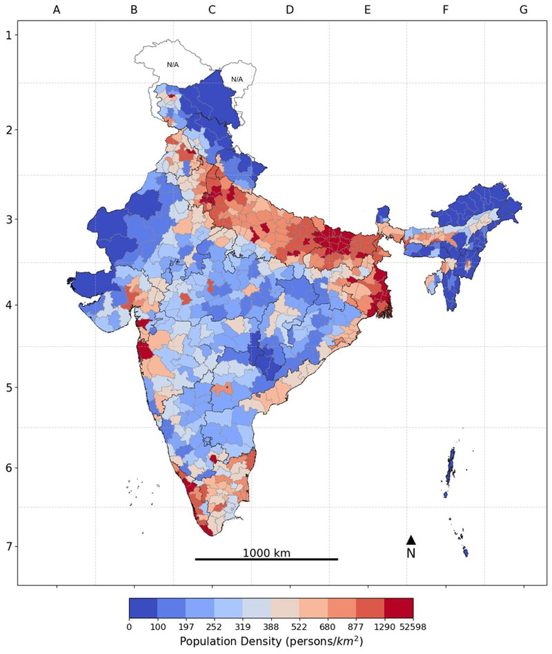 <p><strong>Figure 5. Population density (persons/square kilometer) across Districts in India, 2016.</strong></p><p></p><p><strong>Note</strong>: The color gradient of darkest blue to darkest red represents the decile distribution from the lowest to the highest on the risk correlate; areas with unavailable data are marked N/A on the map.</p>