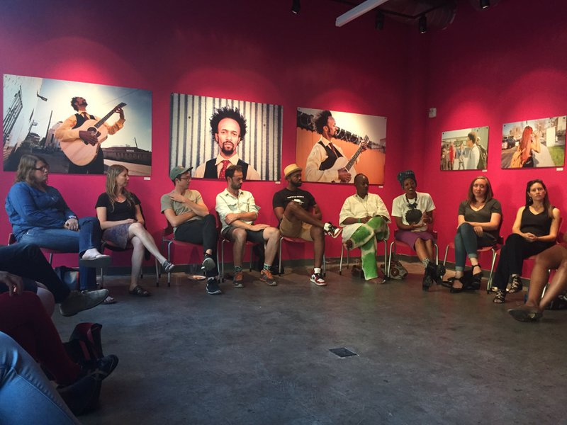 <p>The Alliance for Media Arts + Culture at OMI Gallery - Community Artist talk for Oakland Fence Project (2017). Photo courtesy Wendy Levy.</p>