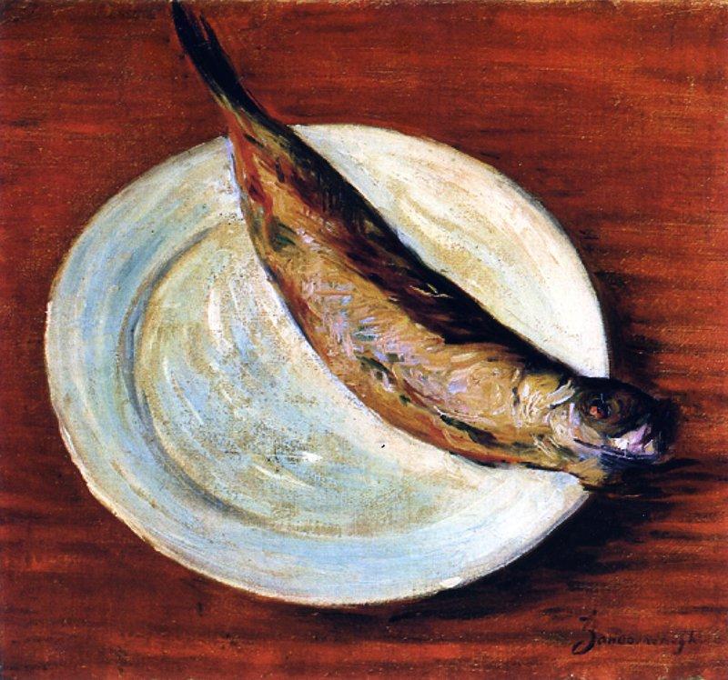 "<p class="""">""Dish with Fish"" by Federico Zandomeneghi (Italy), c. 1900</p>"