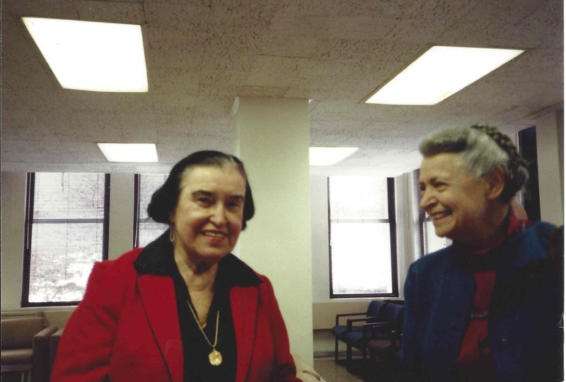 Millie and her mentor, Rosalyn Yalow, at the Herbert Otis Lecture at Lehman College in February, 1991.  Rosalyn Yalow convinced Millie not to become a schoolteacher (as she intended), but to go into science.