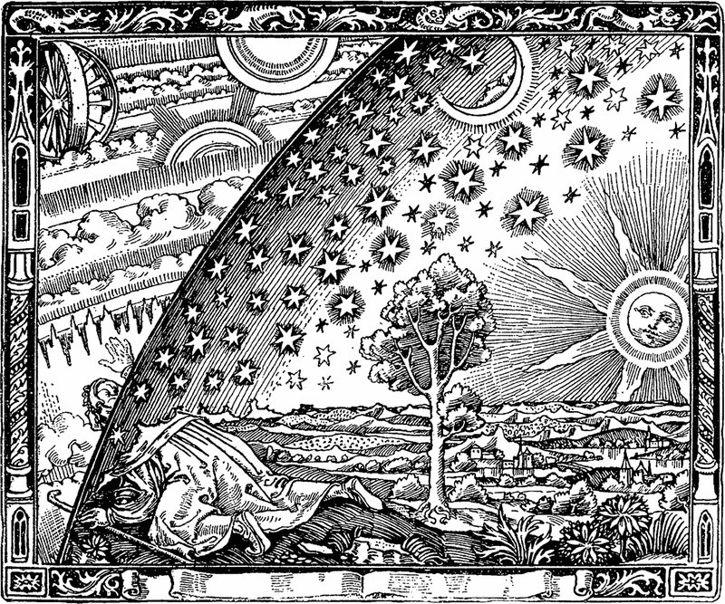 """<p>The Flammarion engraving called """"Wheel of Time"""" is by an unknown artist. It first appeared in Camille Flammarion's """"L'atmosphère: météorologie populaire"""" (1888).</p>"""